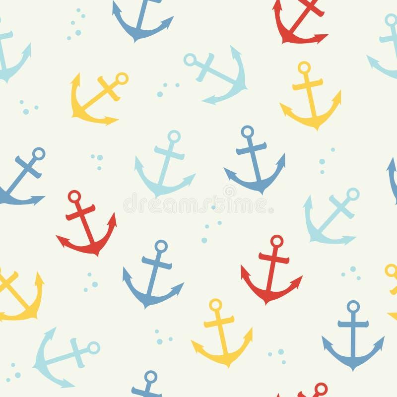 Teste padrão do vetor do marinheiro com a âncora no fundo branco Fundo sem emenda da âncora colorida para a tela, sala da criança ilustração do vetor