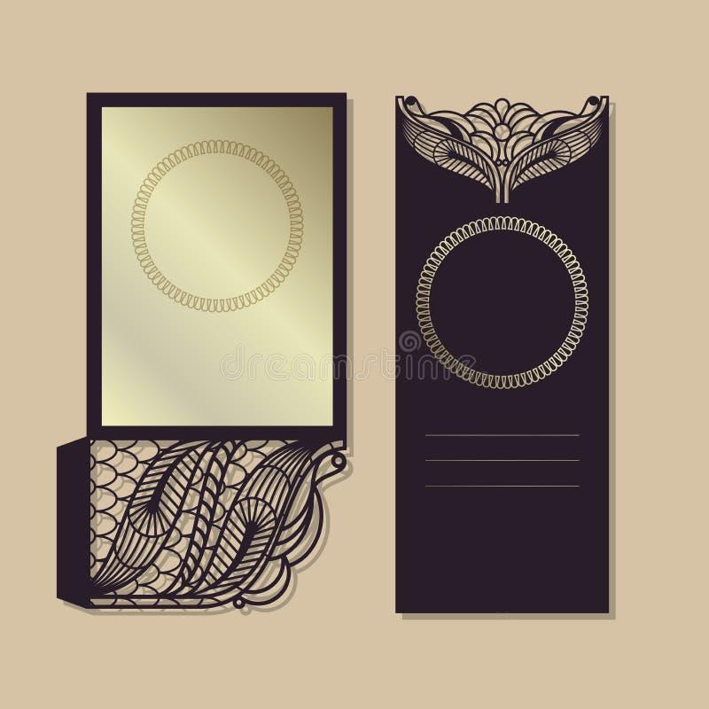Teste padrão do vetor do vintage para o corte do laser Teste padrão luxuoso O projeto dos envelopes para os convites Lugar para ilustração stock
