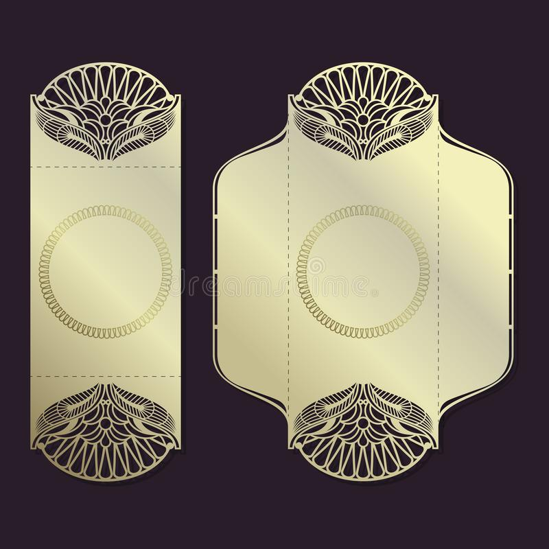 Teste padrão do vetor do vintage para o corte do laser Teste padrão luxuoso O projeto dos envelopes para os convites Lugar para ilustração royalty free