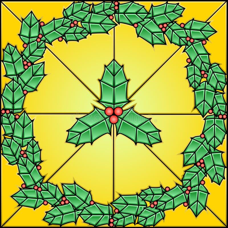 Teste padrão do vidro manchado - azevinho ilustração stock