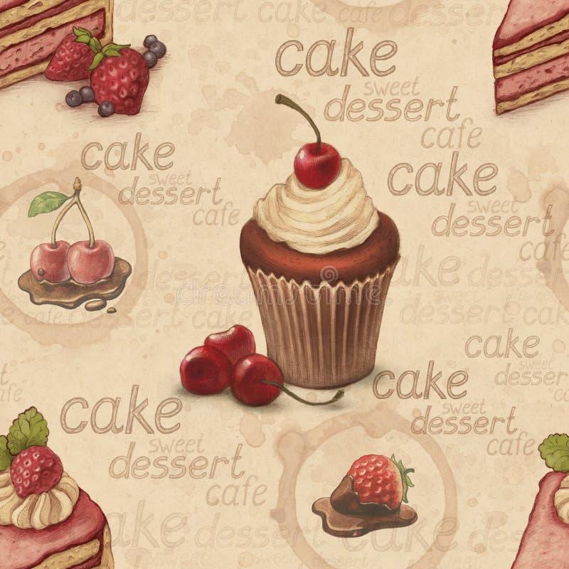Teste padrão do vintage com ilustrações do bolo ilustração do vetor