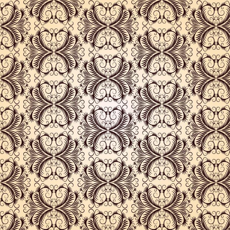 Teste padrão do vintage do marrom escuro em um fundo bege. ilustração royalty free