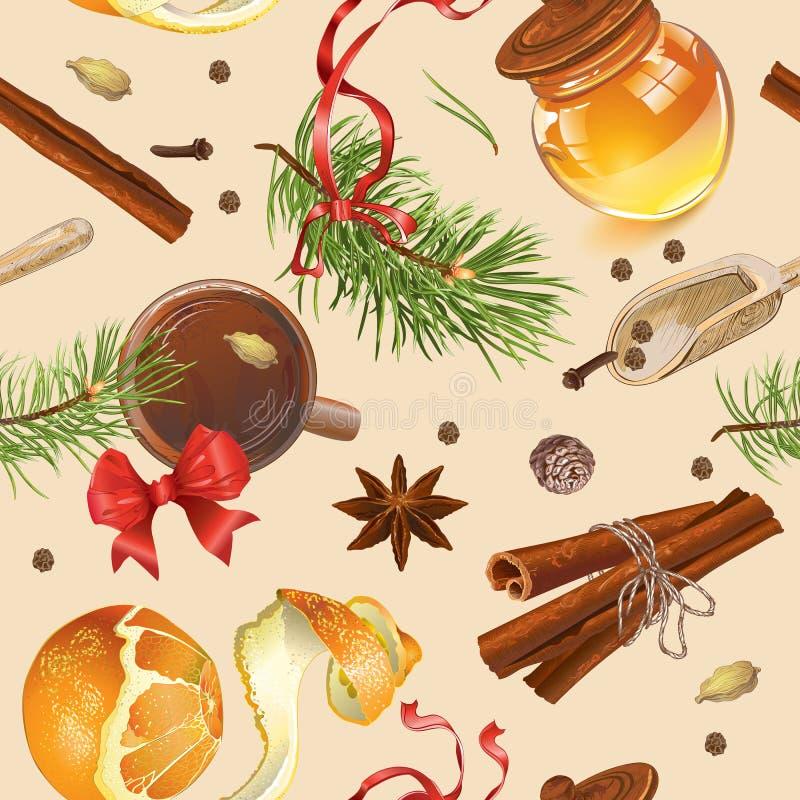 Teste padrão do vintage do Natal ilustração royalty free