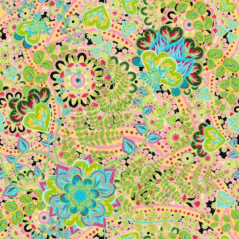 Teste padrão do vintage no estilo indiano do batik Fundo floral do vetor ilustração royalty free