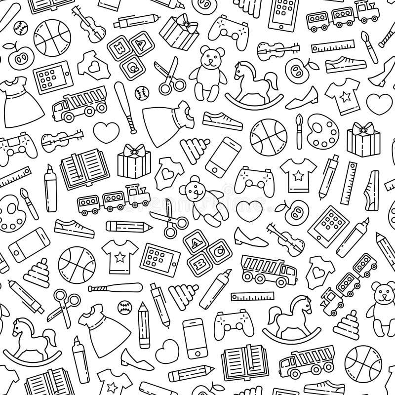 Teste padrão dos ícones dos brinquedos ilustração royalty free