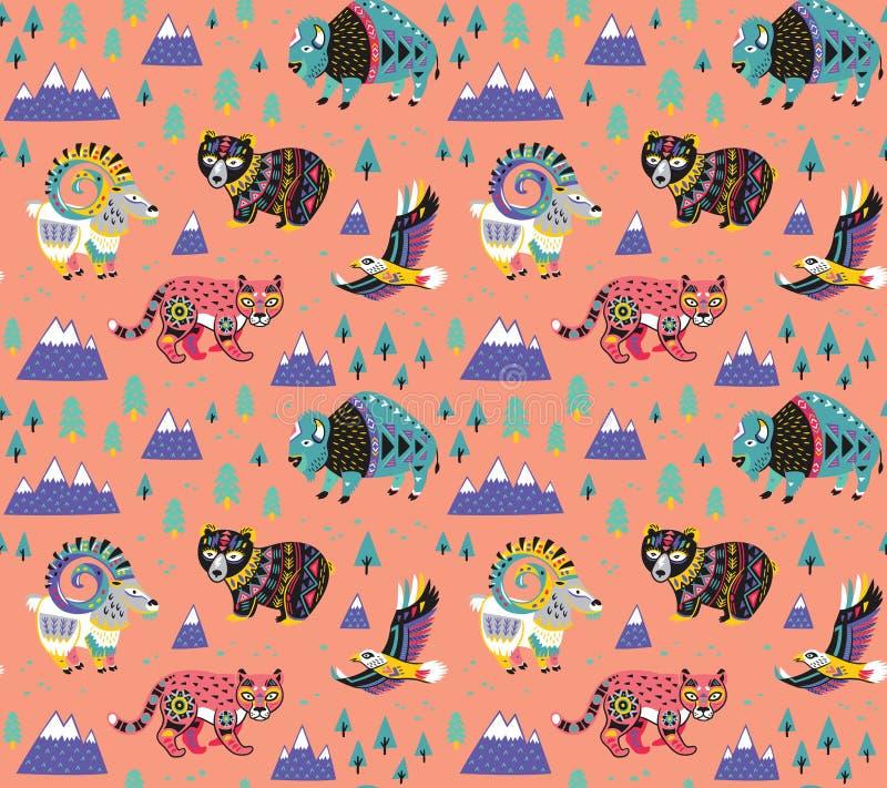 Teste padrão dos animais da montanha no estilo étnico Ilustração do vetor ilustração do vetor