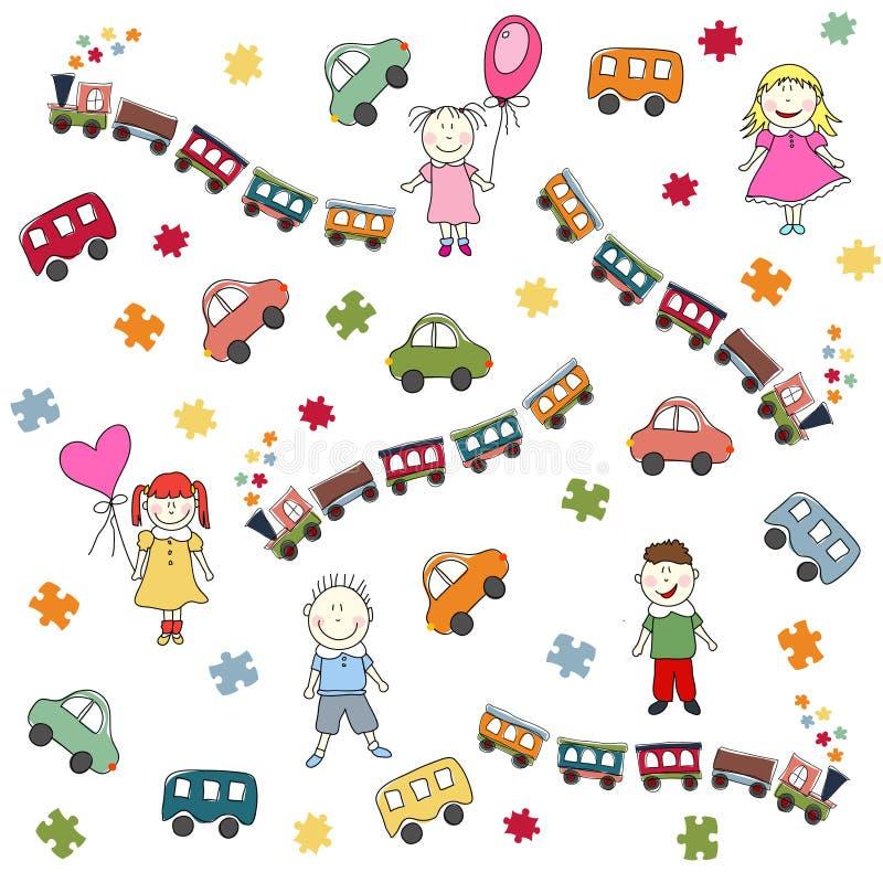 Teste padrão dos brinquedos ilustração stock