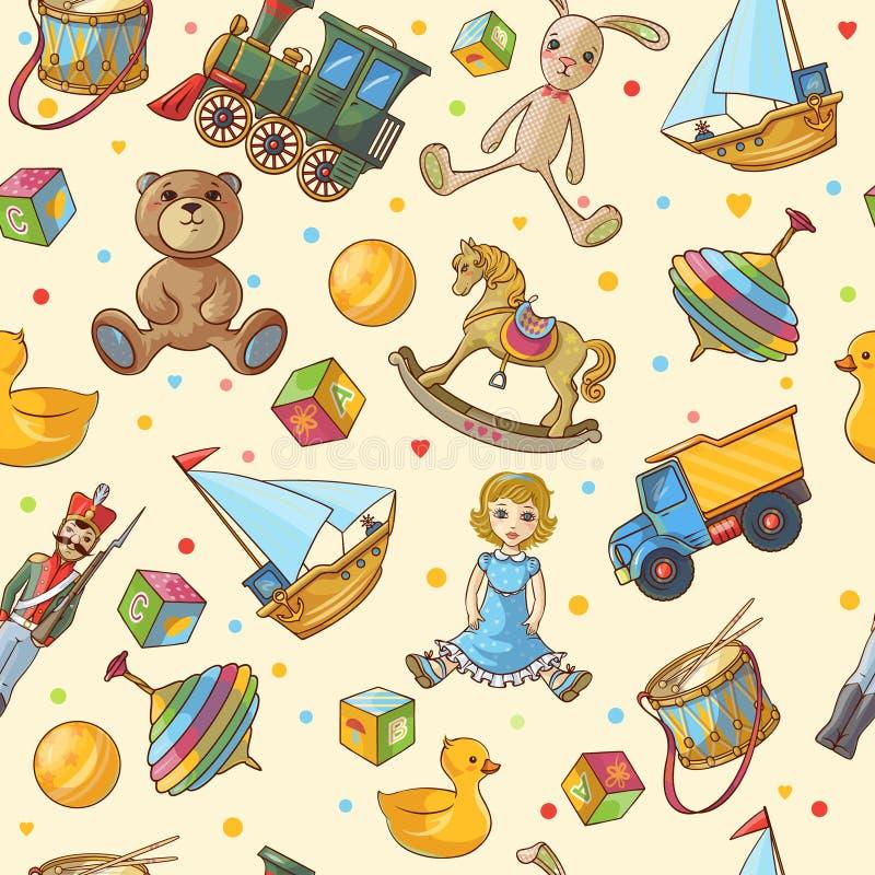 Teste padrão dos brinquedos das crianças ilustração stock