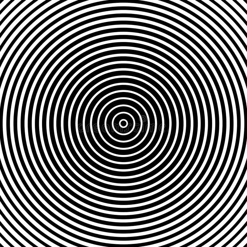 Teste padrão dos círculos concêntricos Illust monocromático-geométrico abstrato ilustração royalty free