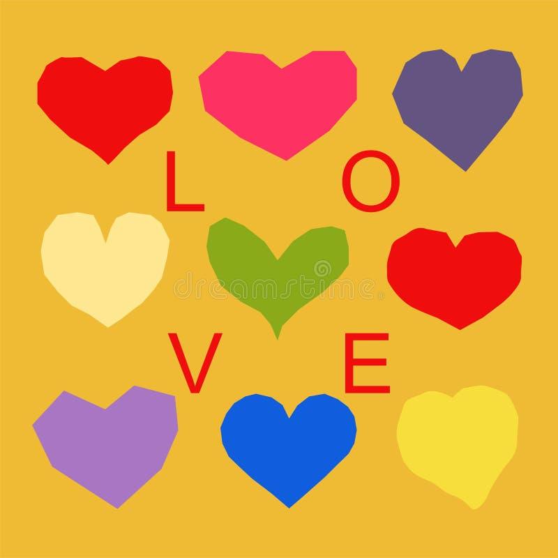 Teste padrão dos corações com palavra do amor ilustração royalty free