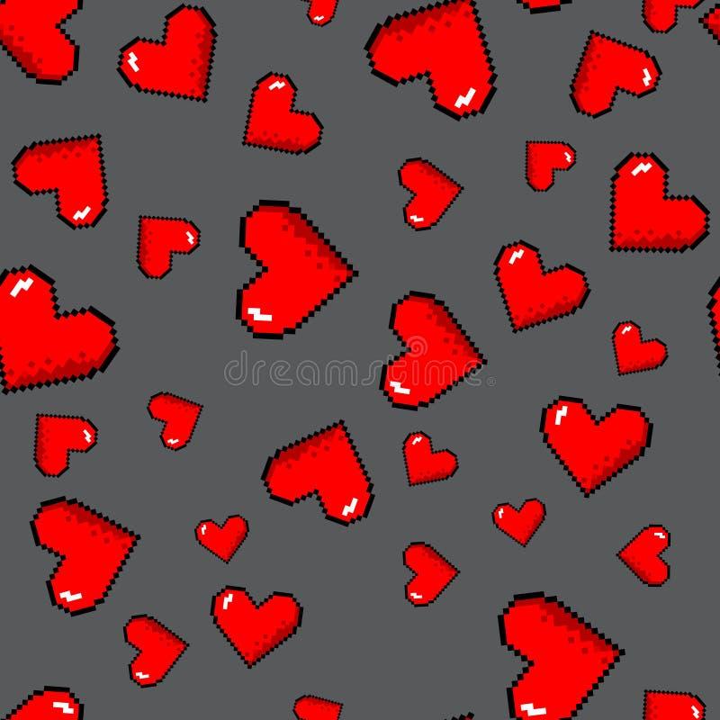 Teste padrão dos corações do pixel do vetor ilustração do vetor