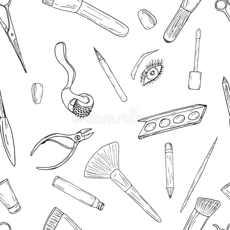 Teste padrão dos cosméticos, da composição e da beleza ilustração do vetor