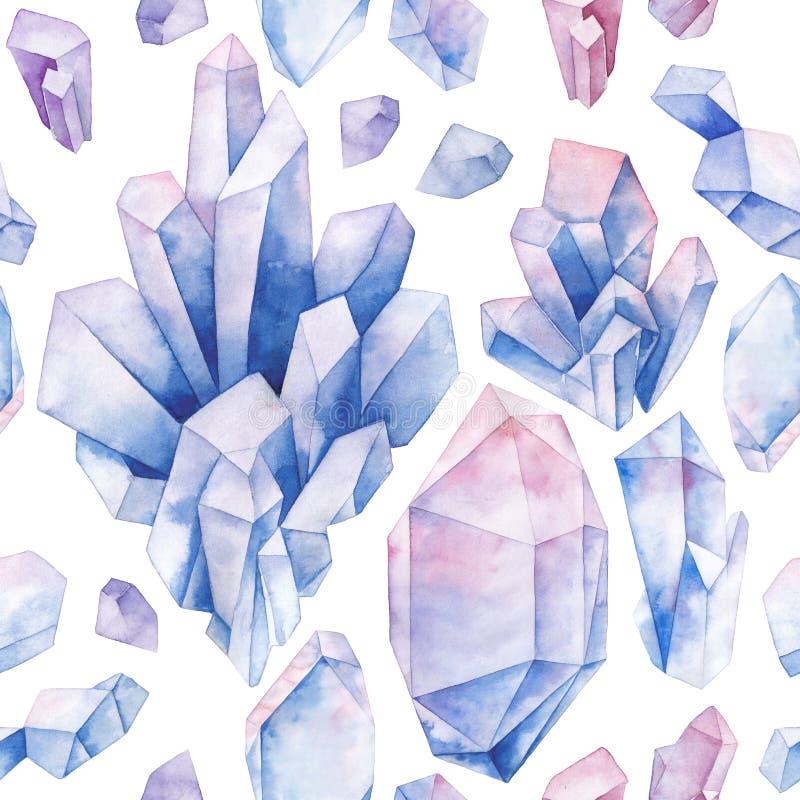 Teste padrão dos cristais da aquarela ilustração do vetor