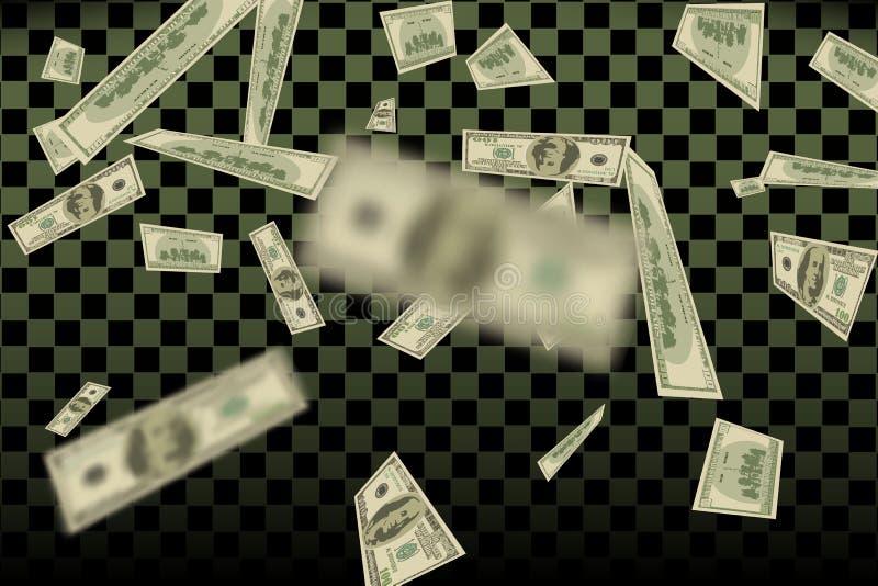 Teste padrão dos dólares americanos do voo ilustração de queda undred da finança das contas de dinheiro ilustração royalty free
