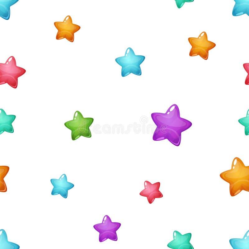 Teste padrão dos desenhos animados da estrela Azul, cor-de-rosa, verde, amarelo ilustração do vetor