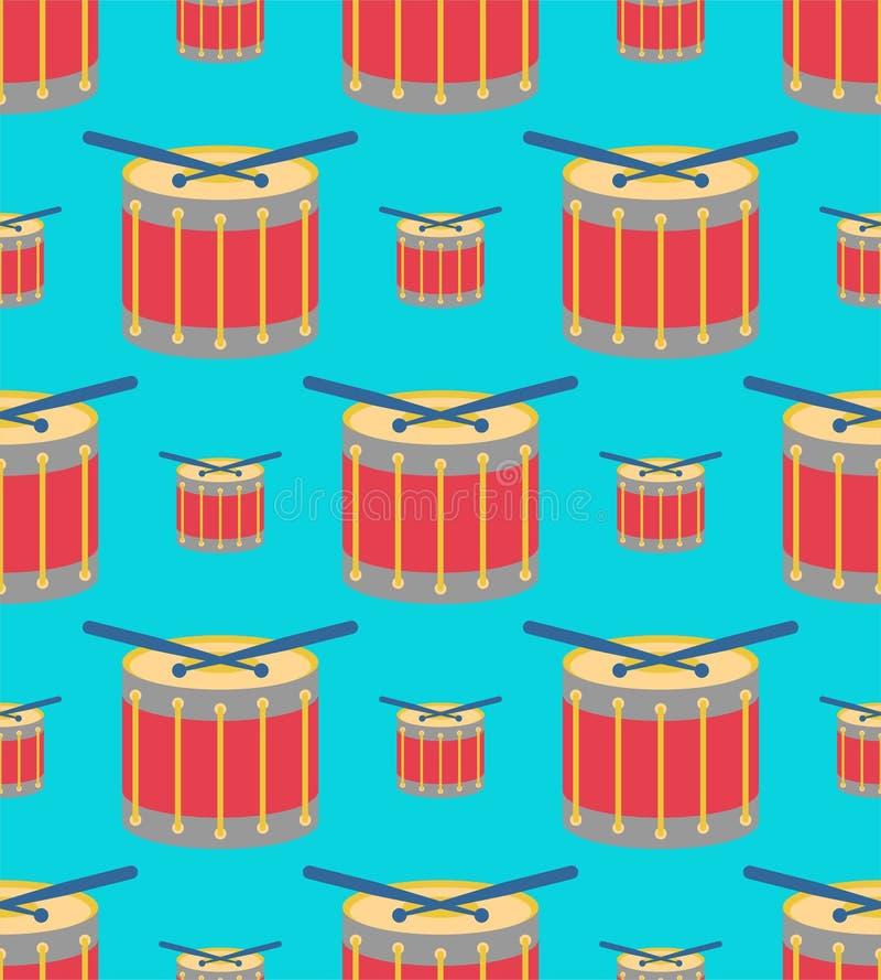 Teste padrão dos desenhos animados de ?rum sem emenda Fundo do instrumento musical da percussão Textura de pano das crian?as ilustração stock