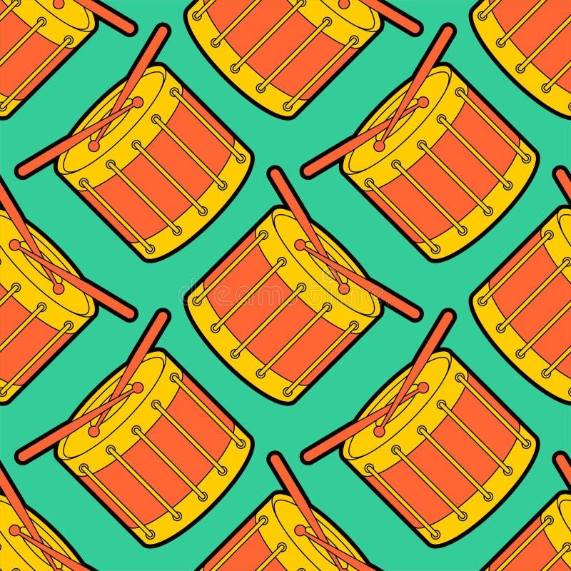 Teste padrão dos desenhos animados de ?rum sem emenda Fundo do instrumento musical da percussão Textura de pano das crian?as ilustração royalty free