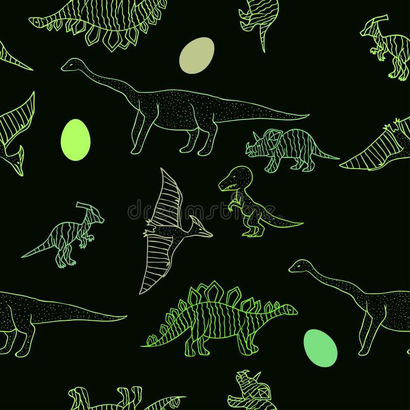 Teste padrão dos dinossauros ilustração do vetor