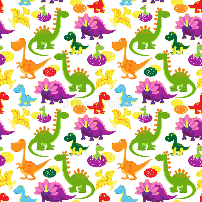 Teste padrão dos dinossauros do bebê ilustração royalty free