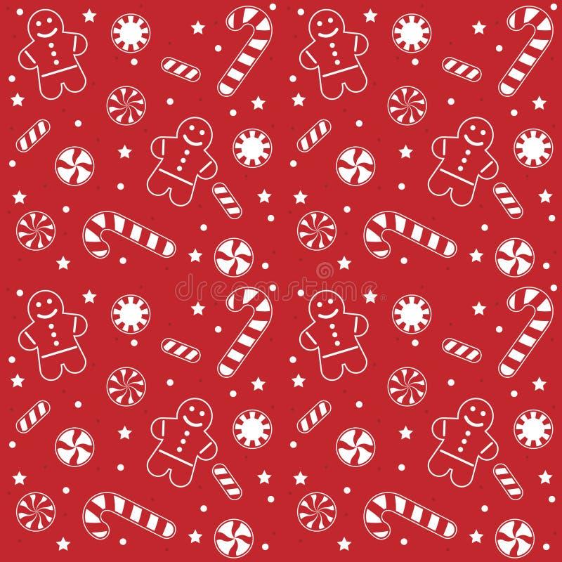 Teste padrão dos doces do Natal ilustração stock