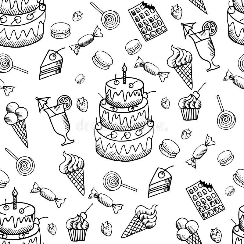 Teste padrão dos doces do vetor com as sobremesas tiradas mão da garatuja ajustadas ilustração do vetor
