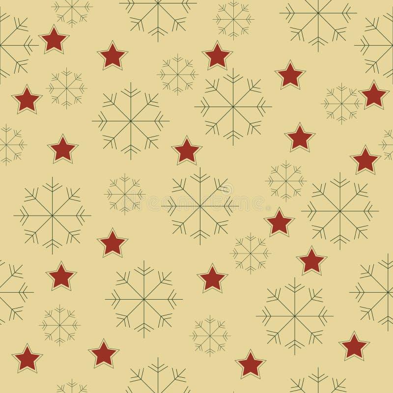 Teste padrão dos flocos de neve e de estrelas foto de stock royalty free
