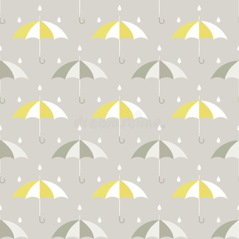 Teste padrão dos guarda-chuvas e das gotas ilustração stock