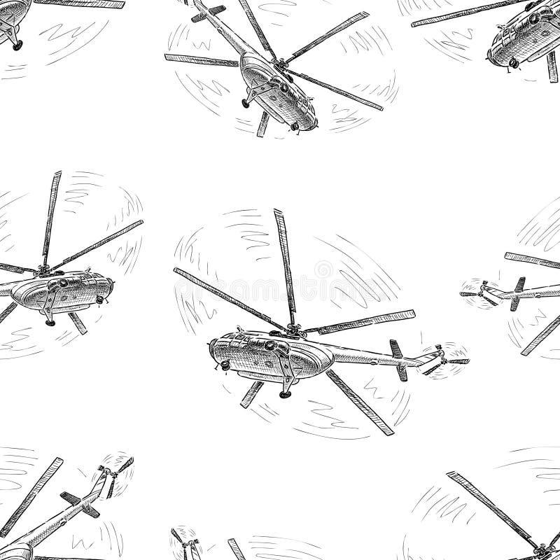 Teste padrão dos helicópteros em voo ilustração stock