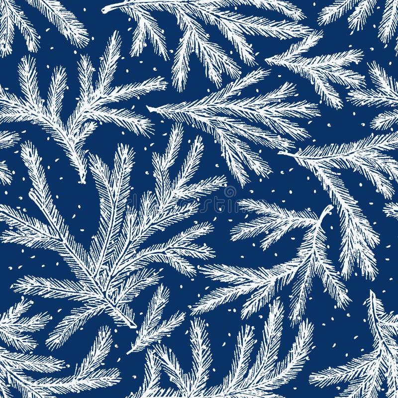 teste padrão dos ramos congelados do abeto ilustração royalty free
