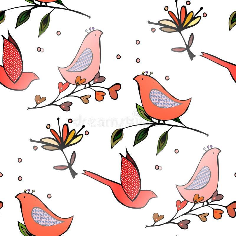 Teste padrão dos seamles das flores dos pássaros fotografia de stock