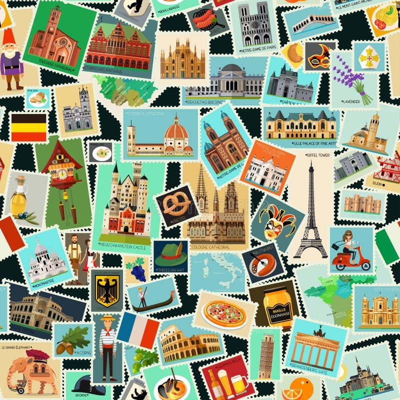 Teste padrão dos selos postais ilustração do vetor