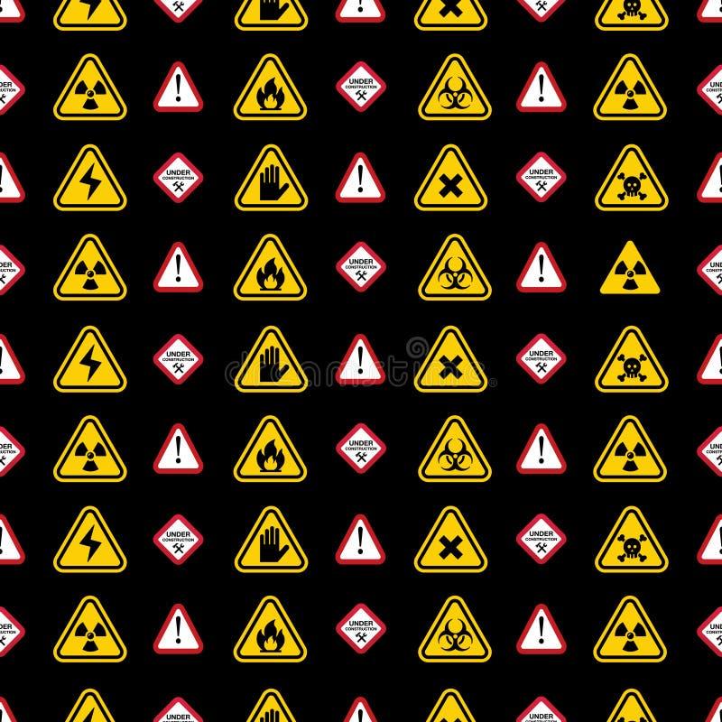 Teste padrão dos sinais de aviso - o aviso do triângulo, perigo assina ilustração do vetor
