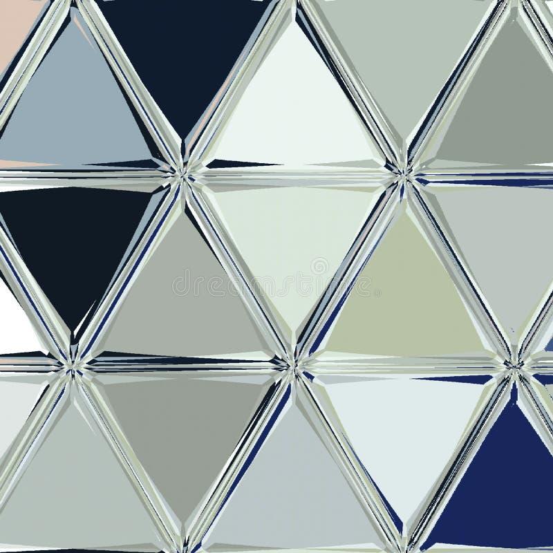 Teste padrão dos triângulos no porto azul e nas cores de prata ilustração do vetor