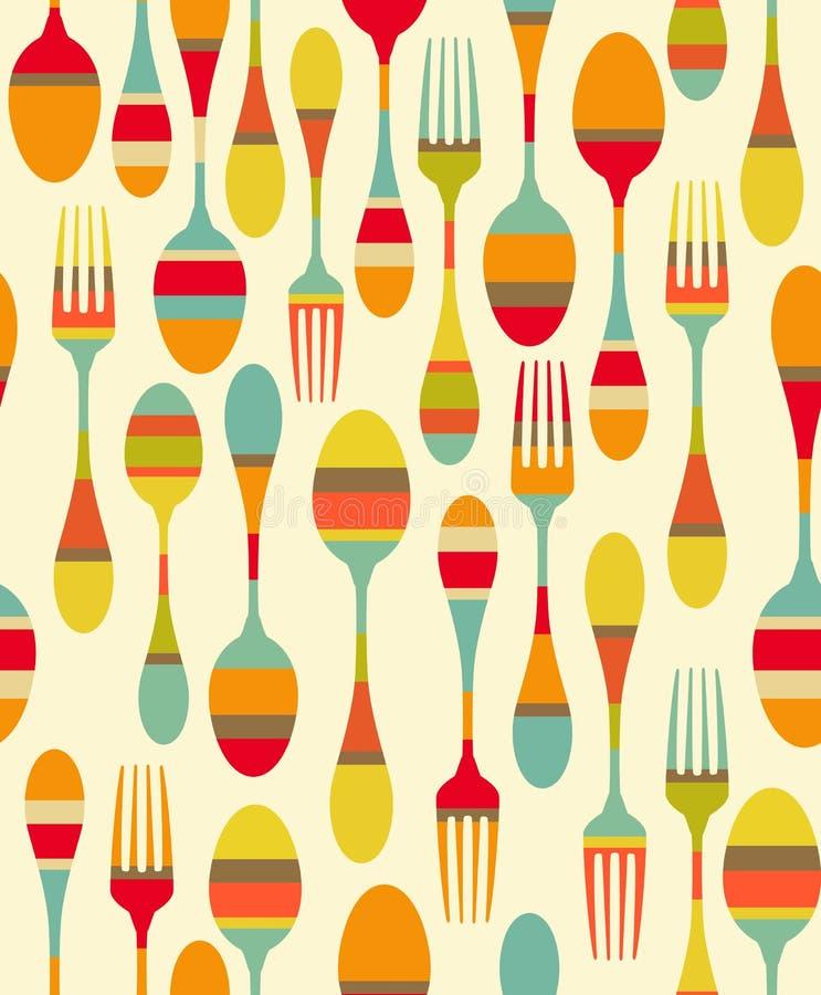 Teste padrão dos utensílios da cozinha ilustração stock