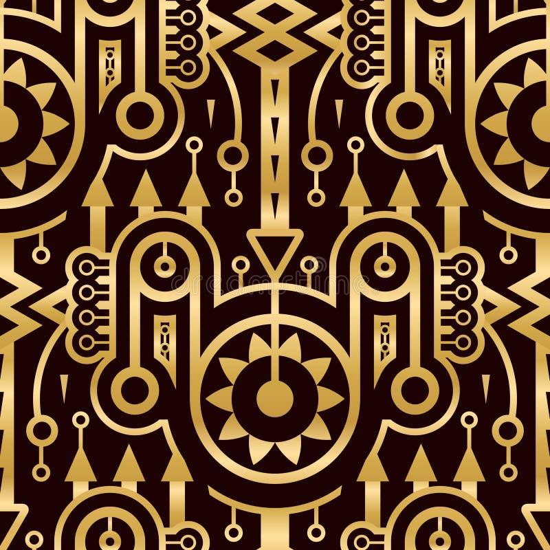Teste padrão dourado abstrato sem emenda no estilo de Techno ilustração royalty free