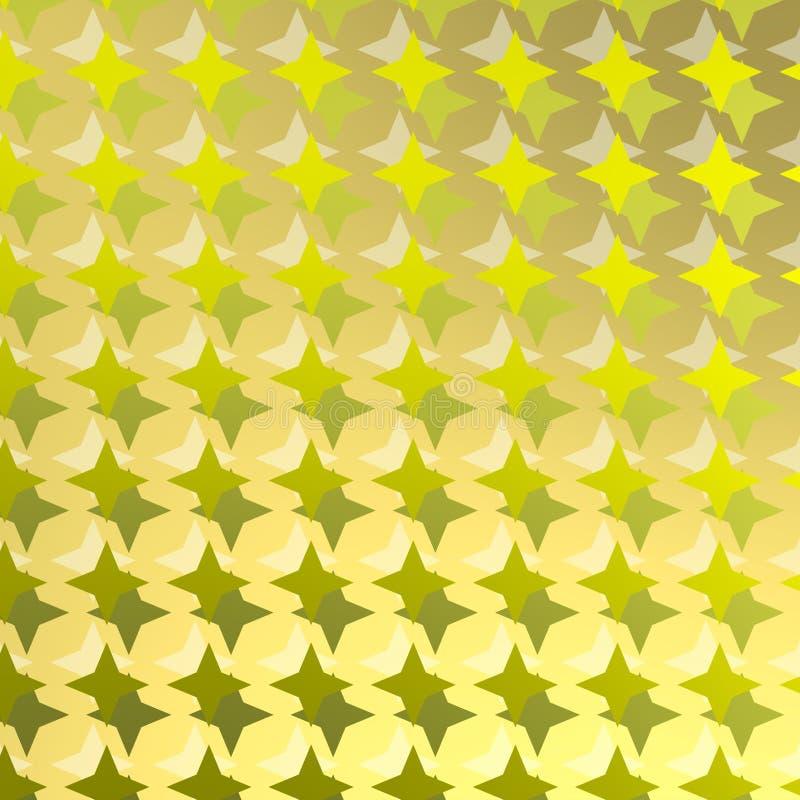 Teste padrão dourado com estrelas dobro ilustração do vetor