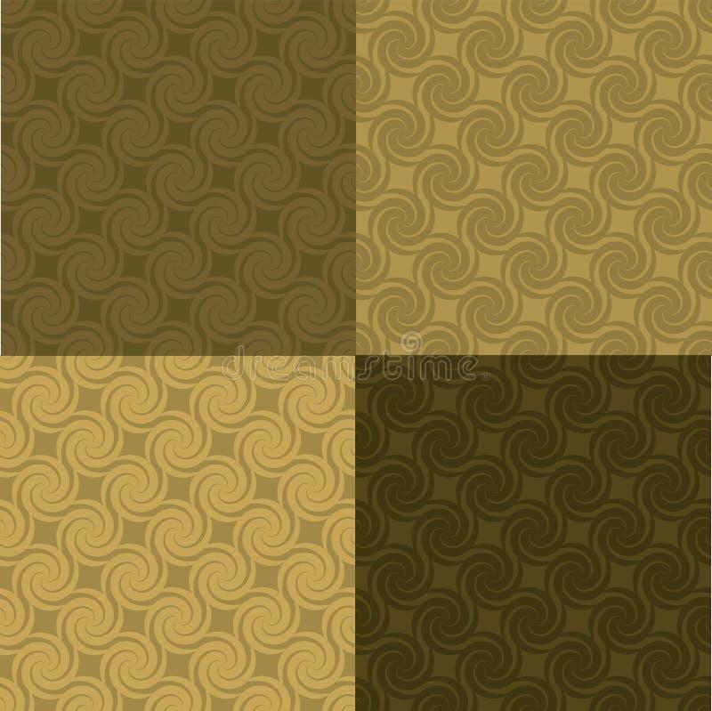 Teste padrão dourado do redemoinho multi ilustração stock