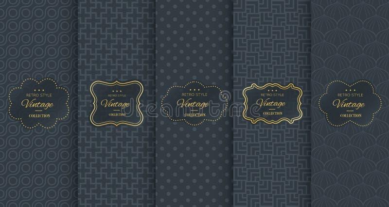 Teste padrão dourado do vintage no fundo preto ilustração royalty free