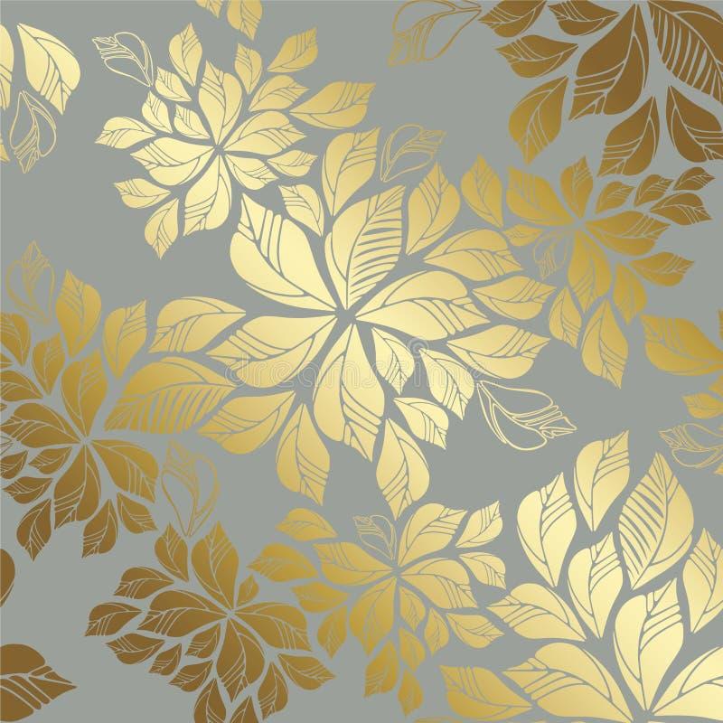 Teste padrão dourado sem emenda das folhas no fundo cinzento fotos de stock