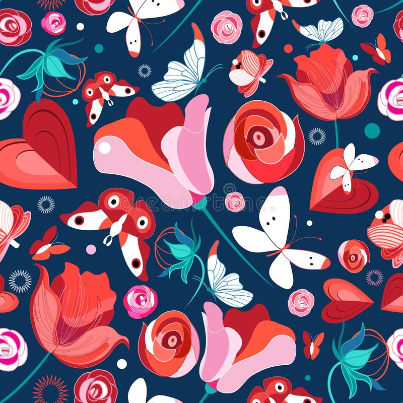 Teste padrão e borboletas de flor ilustração stock
