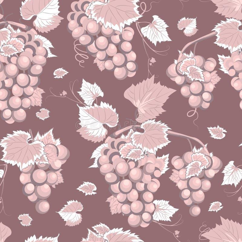 Teste padrão e folhas sem emenda da vinha no fundo cor-de-rosa cor-de-rosa, alimento biológico fresco, fundo do teste padrão do g ilustração do vetor