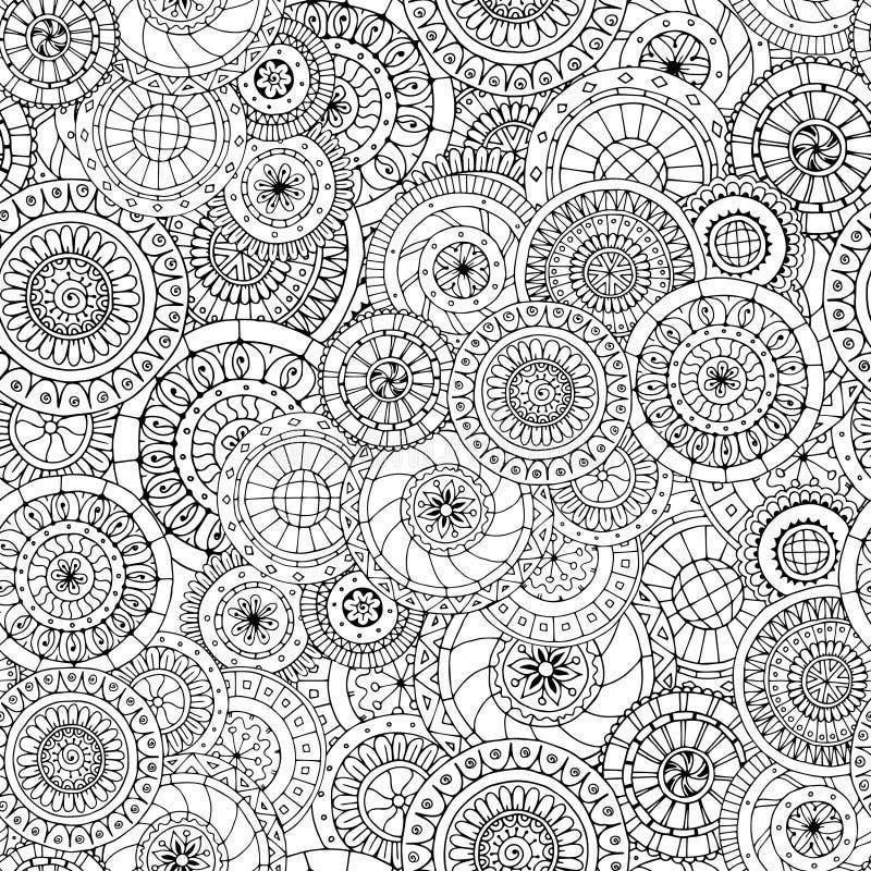 Teste padrão e pepinos florais sem emenda do doddle ilustração royalty free