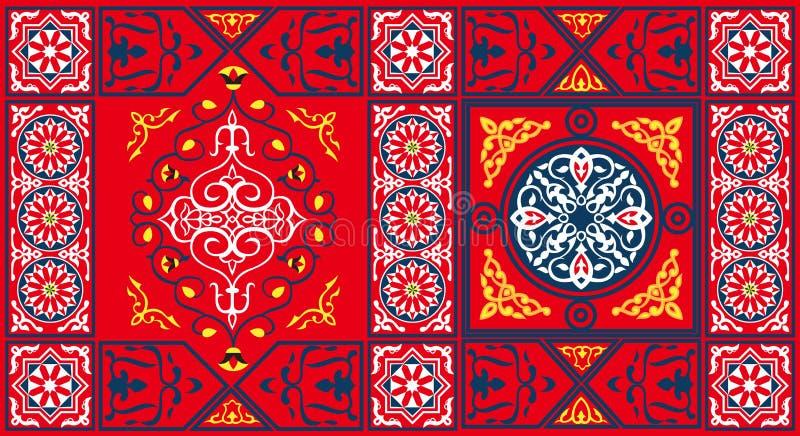 Teste padrão egípcio 2-Red da tela da barraca ilustração do vetor