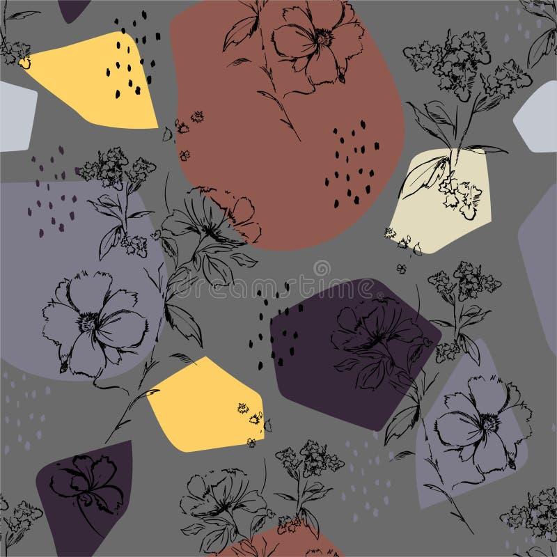 Teste padrão em flores do esboço da mão de Styilsh Mimimal do vetor e botânico sem emenda com projeto moderno colorido da forma d ilustração royalty free