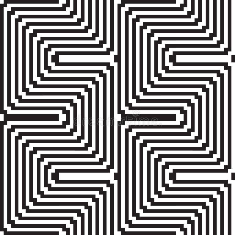 Teste padrão em preto e branco - ilusão óptica ilustração do vetor