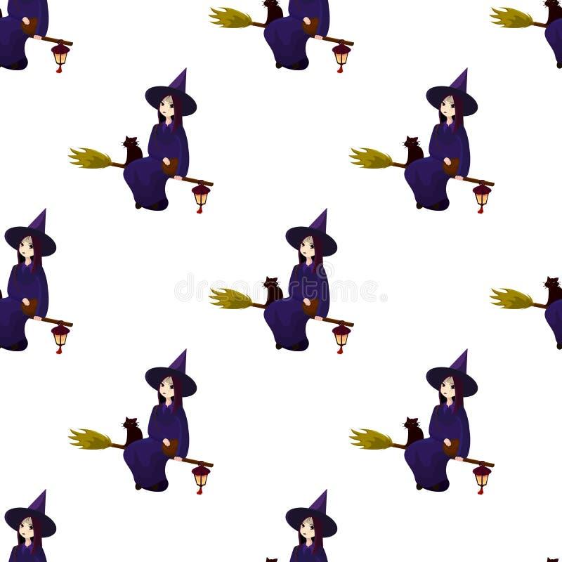 Teste padrão em um tema de um Dia das Bruxas com bruxas bonitas, mágicos ilustração royalty free