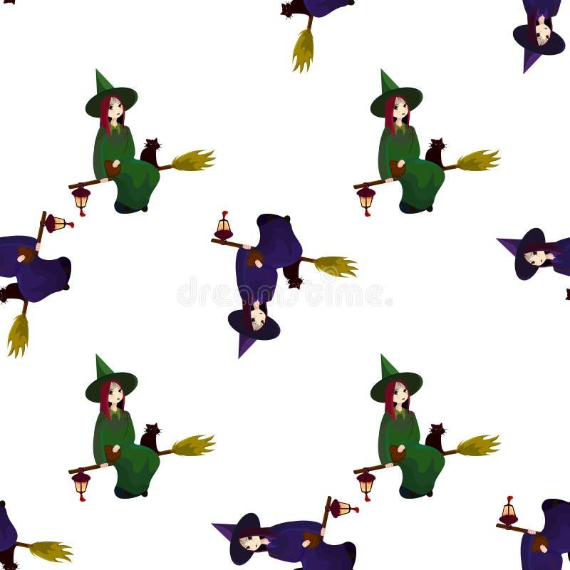 Teste padrão em um tema de um Dia das Bruxas com bruxas bonitas, mágicos ilustração do vetor