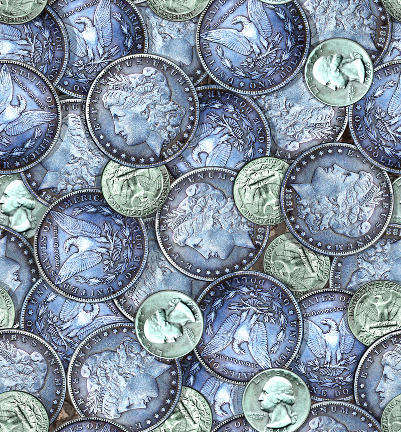 Teste padrão empilhado das moedas fotos de stock