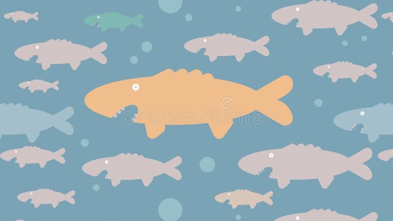 Teste padrão engraçado dos peixes fotografia de stock royalty free