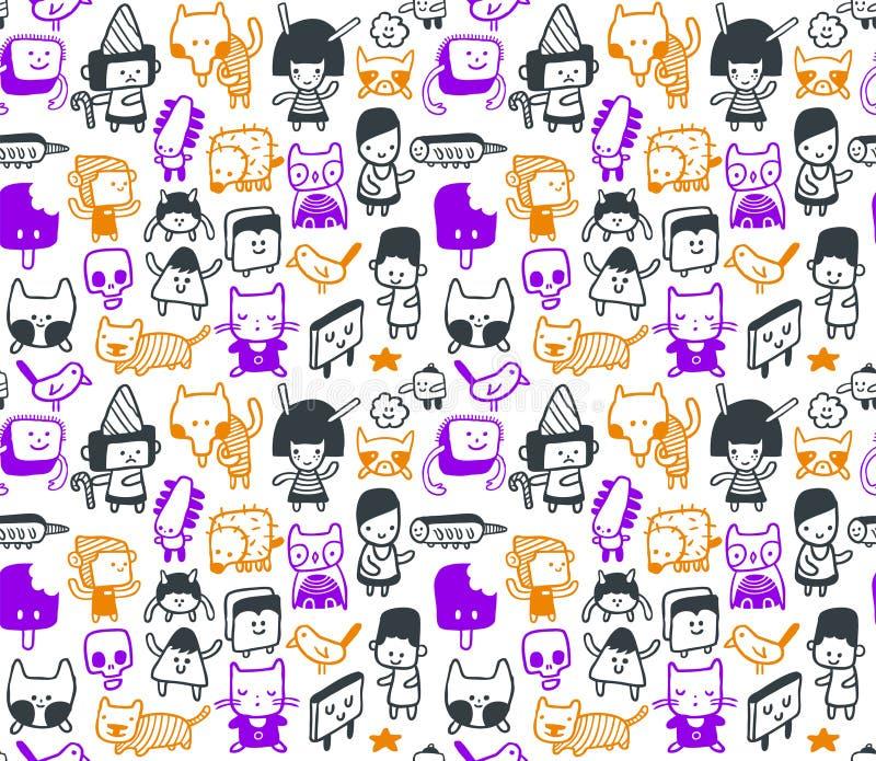 Teste padrão engraçado sem emenda dos doodles ilustração royalty free